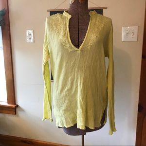 Chartreuse Flowy Top with Sequin Detail